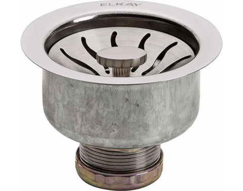 Elkay Drain Fitting 3-1/2 Stainless Steel Body with Strainer Basket, Satin Finish, LKDSS