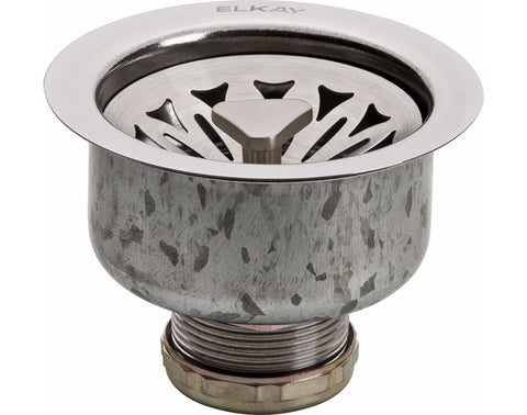 Elkay Drain Fitting 3-1/2 Stainless Steel Body with Strainer Basket, Satin Finish, LKDTS