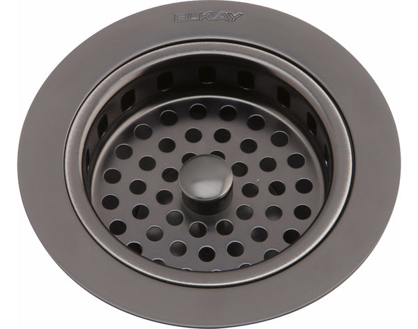 Elkay Drain Fitting Antique Steel Finish Body and Basket with Rubber Stopper