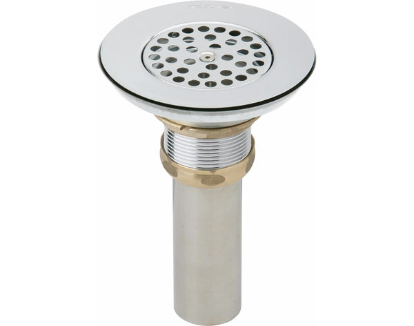Elkay Drain Nickel Plated Brass Body, Vandal-resistant Strainer and Tailpiece, LKVR18