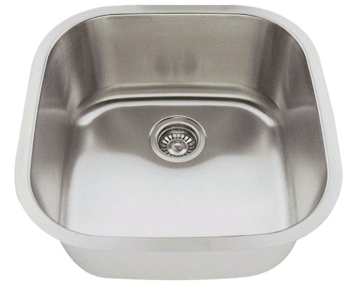 "Stainless Steel Sink, 20"" Single Bowl, Undermount Kitchen Sink, Polaris, P0202"