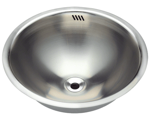 "Stainless Steel Bathroom Sink, 16-1/4"" Round Single Bowl, Undermount Polaris, P024"