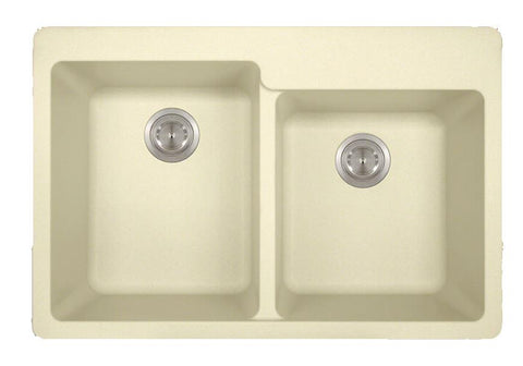 "AstraGranite Sink, 33"" Double Offset Bowl, Topmount Kitchen Sink, Polaris, P108T"
