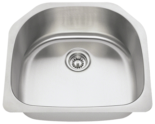 "Stainless Steel Rectangular Sink, 23-1/2"" Single Bowl, Undermount Kitchen Sink, Polaris, P1242"
