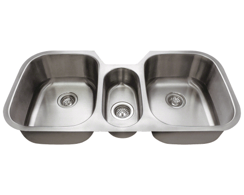 "Stainless Steel Sink, 42-3/4"" Triple Bowl, Undermount Kitchen Sink, Polaris, P1254"