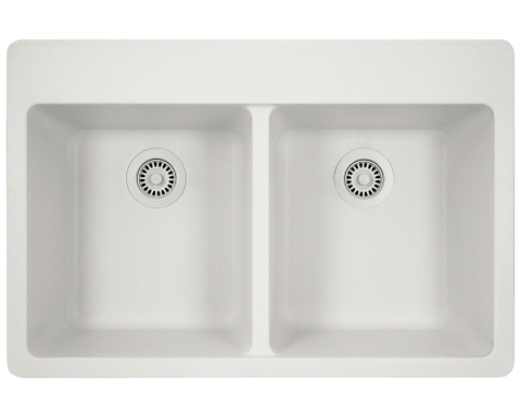 "AstraGranite Sink, 33"" Double Equal Bowl, Topmount Kitchen Sink, Polaris, P208T - Showroom Sinks"