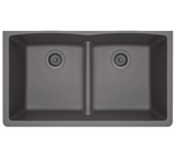 "TruGranite Sink, 33"" x 19"" Double Equal Bowl Low-divide, Undermount Kitchen Sink, Polaris, P218"