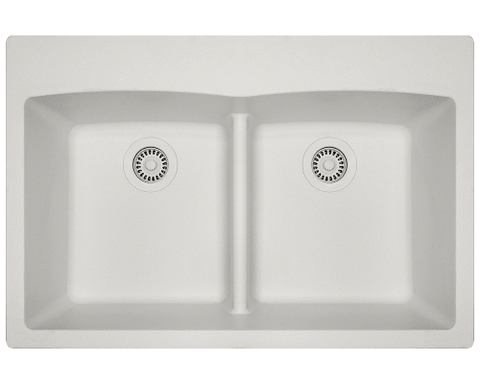 "TruGranite Sink, 33"" Double Equal Bowl Low-divide, Topmount Kitchen Sink, Polaris, P218T"
