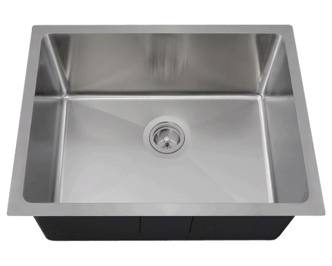 "Stainless Steel Kitchen Sink, 23"" x 17-7/8"" Single Bowl 3/4"" Radius, Undermount Kitchen Sink, Polaris, P3281"