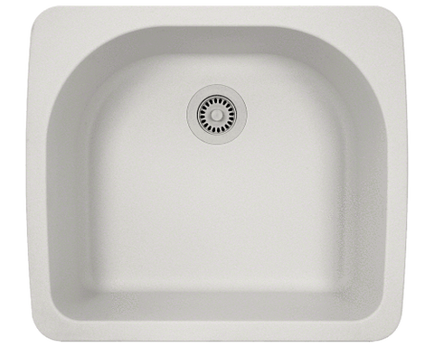 "AstraGranite Sink, 25"" D-Bowl, Topmount Kitchen Sink, Polaris, P428T - Showroom Sinks"