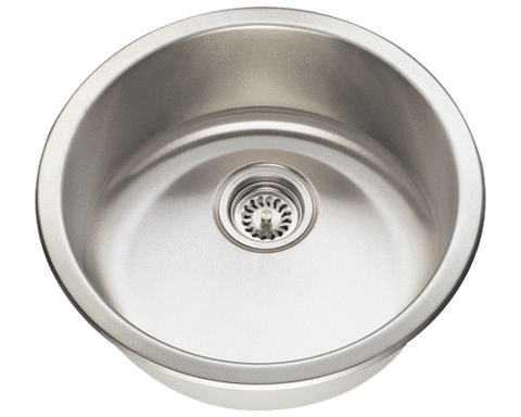 "Stainless Steel Sink, 18-1/4"" Circular Single Bowl, Undermount Bar Sink, Polaris, P564"