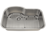 "Stainless Steel Sink, 31-3/8"" Offset Single Bowl, Undermount Kitchen Sink, Polaris, P643"
