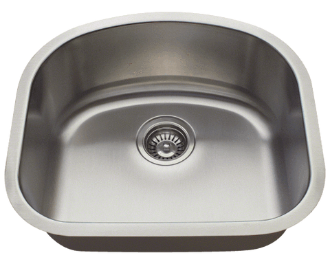 "Stainless Steel Sink, 20-1/8"" Single D-Bowl, Undermount Kitchen Sink, Polaris, P812"