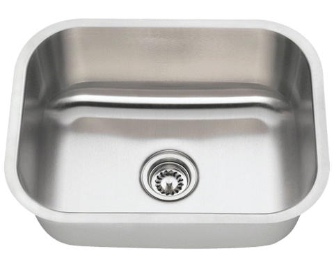 "Stainless Steel Sink, 23"" Single Bowl, Undermount Kitchen Sink, Polaris, P8132"