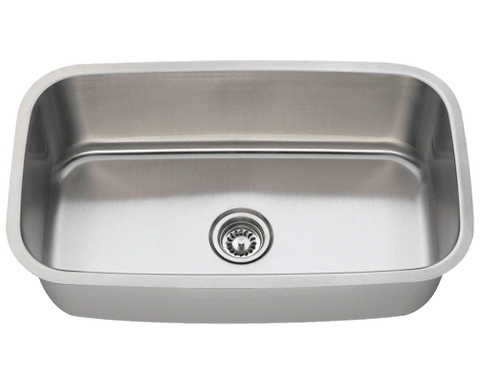 "Stainless Steel Sink, 31-1/2"" Single Bowl, Undermount Kitchen Sink, Polaris, P813"