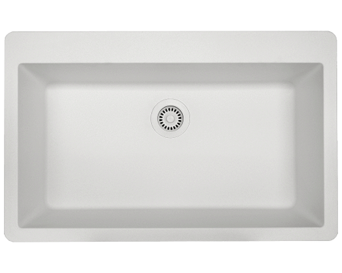 "AstraGranite Sink, 33"" Large Single Bowl, Topmount Kitchen Sink, Polaris, P848T - Showroom Sinks"
