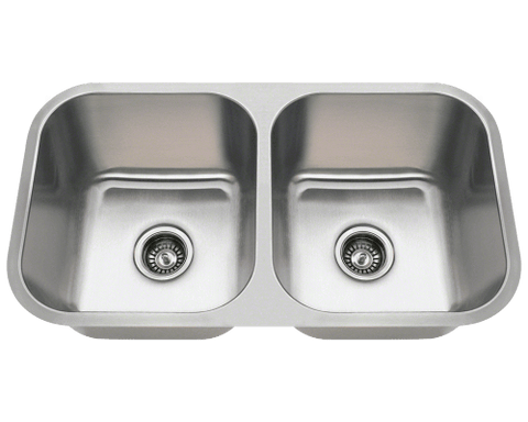 "Stainless Steel Sink, 32-1/4"" Double Bowl, Undermount Kitchen Sink, Polaris, PA8123"