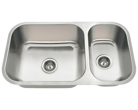 "Stainless Steel Sink, 32-1/4"" Offset Double Bowl, Undermount Kitchen Sink, Polaris, PB8123L"