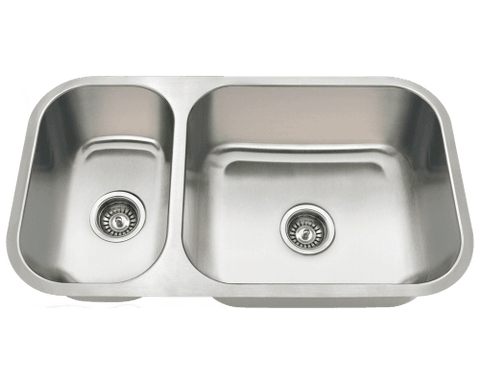 "Stainless Steel Sink, 32-1/4"" Offset Double Bowl, Undermount Kitchen Sink, Polaris, PB8123R"