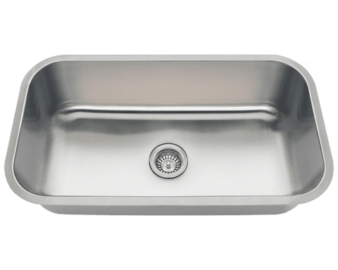 "Stainless Steel Sink, 32-1/4"" Single Bowl, Undermount Kitchen Sink, Polaris, PC8123"