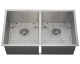 "Stainless Steel Sink, 32"" Double Equal Rectangular Bowl, Undermount Kitchen Sink, Polaris, PD2233"