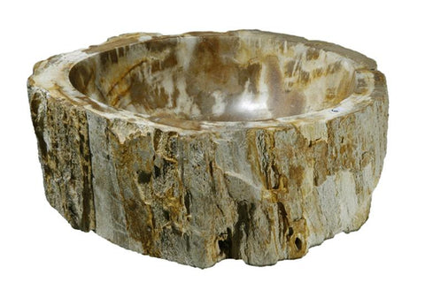 "Bathroom Vessel Sink, 14.5"" Petrified Wood, Allstone Group, PEWD-#119"