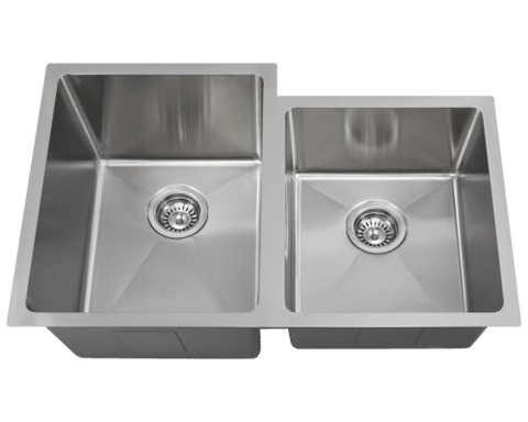 "Stainless Steel Sink, 31-1/4"" Double Bowl Offset 3/4"" Radius Sink, Undermount Kitchen Sink, Polaris, PL0213"