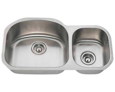 "Stainless Steel Sink, 32-1/8"" Offset Double Bowl, Undermount Kitchen Sink, Polaris, PL105"