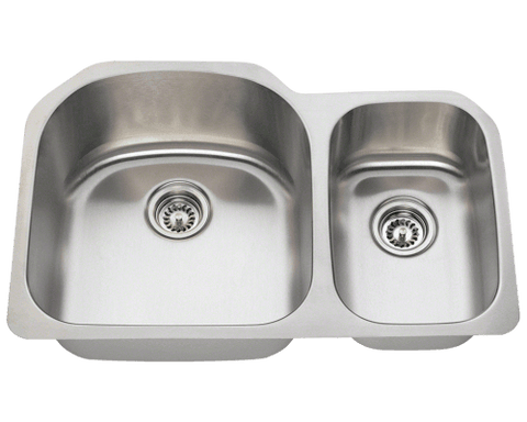 "Stainless Steel Sink, 31-1/2"" Offset Double Bowl, Undermount Kitchen Sink, Polaris, PL1213"