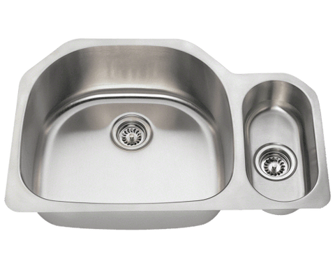 "Stainless Steel Sink, 31-3/4"" Offset Double Bowl, Undermount Kitchen Sink, Polaris, PL123"