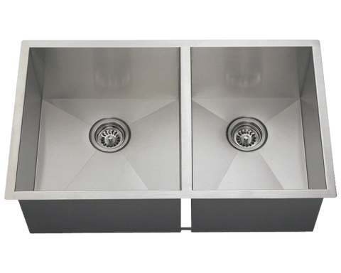 "Stainless Steel Sink, 32"" Double Rectangular Bowl Stainless Steel Undermount Kitchen Sink, Polaris, POL2233"