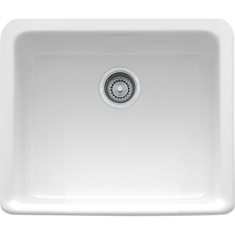 "Manor House 19-1/2"" Fireclay White Farmhouse Kitchen Sink, Single Bowl, Franke, MHK110-20"