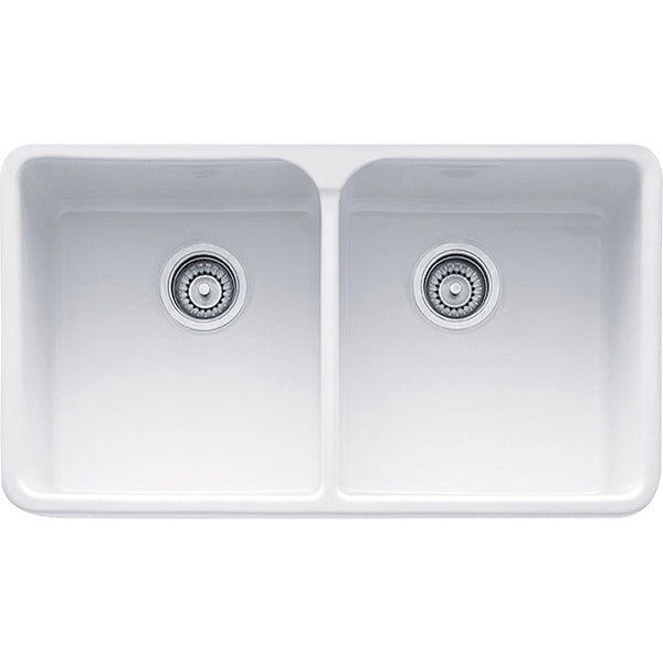 "Manor House 31-1/4"" Fireclay White Apron Front Kitchen Sink, Double Bowl, Franke, MHK720-31"