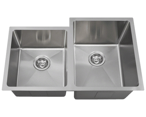 "Stainless Steel Sink, 31-1/4"" Offset Double Bowl 3/4"" Radius, Undermount Kitchen Sink, Polaris, PR0213"