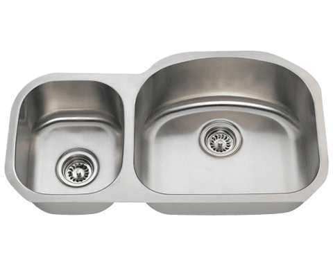 "Stainless Steel Sink, 32-1/8"" Offset Double Bowl, Undermount Kitchen Sink, Polaris, PR105"