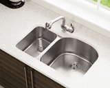 "Stainless Steel Sink, 31-1/2"" Offset Double Bowl, Undermount Kitchen Sink, Polaris, PR1213"