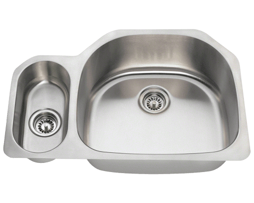 "Stainless Steel Sink, 31-3/4"" Offset Double Bowl, Undermount Kitchen Sink, Polaris, PR123"