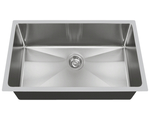 "Stainless Steel Sink, 31-1/4"" Single Bowl 3/4"" Radius, Undermount Kitchen Sink, Polaris, PS0213"