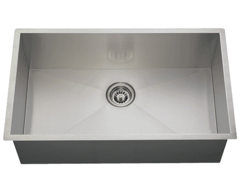 "Stainless Steel Sink, 32"" Industrial Rectangular  Bowl, Undermount Kitchen Sink, Polaris, PS2233"