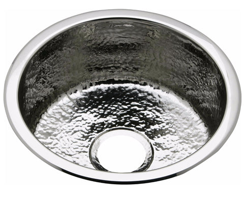 "Elkay Stainless Steel 16-3/8"", Single Bowl, Dual Mount Bar Sink, Hammered Mirror, Round, SCF16FBSH"