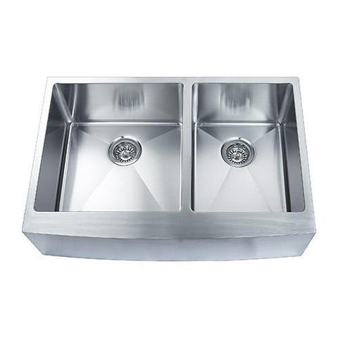 "Boann 33"" Apron R15 Stainless Steel Double Sink SKR3322D2"