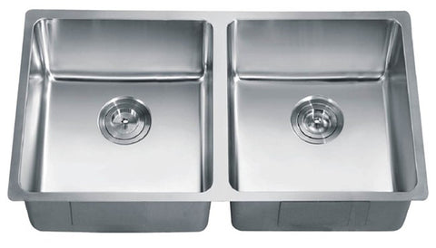 "Dawn 34-3/16"" Stainless Steel Small Radius Kitchen Sink Equal Double Bowl, SRU331616"