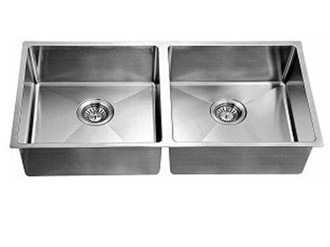 "Dawn 34-3/16"" Stainless Steel Undermount Extra Small Corner Radius Equal Double Bowl, XSR321616"