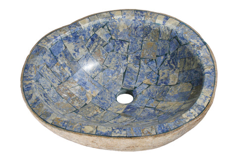 "Bathroom Vessel Sink, 18"" Amberstone Natural Boulder Granite, Allstone Group, V-VNRAMS-S-#01"