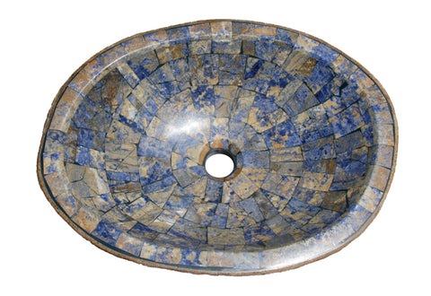 "Bathroom Vessel Sink, 18-1/2"" Amberstone Natural Boulder Granite, Allstone Group, V-VNRAMS-S-#03"