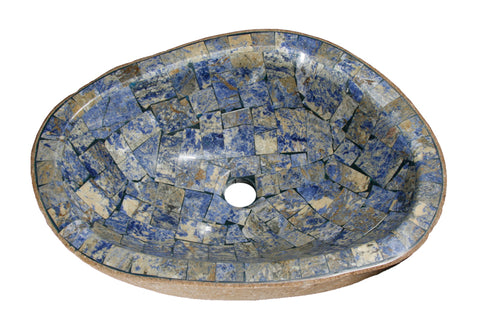 "Bathroom Vessel Sink, 19-1/2"" Amberstone Natural Boulder Granite, Allstone Group, V-VNRAMS-S-#04 - Showroom Sinks"