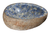 "Bathroom Vessel Sink, 20-1/2"" Amberstone Natural Boulder Granite, Allstone Group, V-VNRAMS-S-#014"
