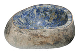 "Bathroom Vessel Sink, 19"" Amberstone Natural Boulder Granite, Allstone Group, V-VNRAMS-S-#016"