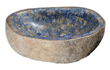 "Bathroom Vessel Sink, 21"" Amberstone Natural Boulder Granite, Allstone Group, V-VNRAMS-S-#018"