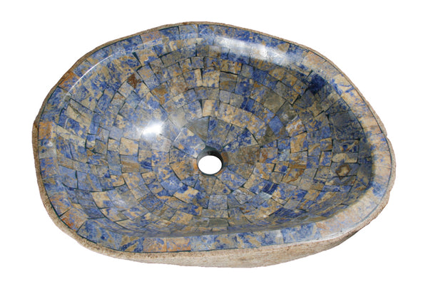 "Bathroom Vessel Sink, 21"" Amberstone Natural Boulder Granite, Allstone Group, V-VNRAMS-S-#018 - Showroom Sinks"
